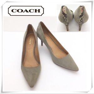 Coach Gray Suede with Snakeskin Heel